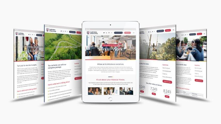 iPad view of landing page series